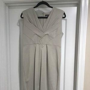 NWOT Adrienne Vittadini cream vneck dress.